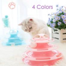 Qsezeny-juguete para gatos de 3/4 niveles, placa de entretenimiento, torre de gatito, pista de disco, inteligencia, diversión, vaso de disco Triple