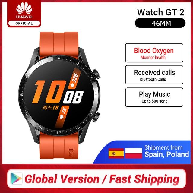 En Stock Original HUAWEI Watch GT 2 GT2 Smart 46MM GPS Bluetooth llamada telefónica Frecuencia Cardíaca de oxígeno en sangre para Android iOS