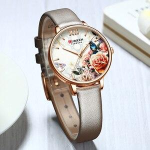 Image 4 - CURREN יפה פרח עיצוב שעונים נשים אופנה מקרית עור שעוני יד גבירותיי שעון נשי שעון נשים של קוורץ שעון