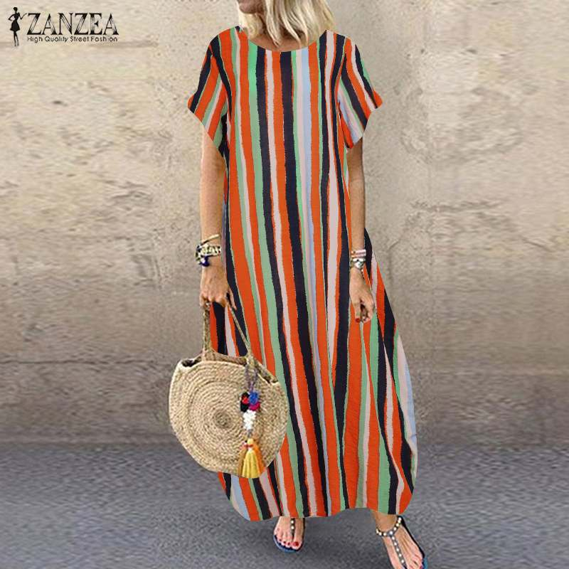 Vintage Printed Maxi Dress Women's Summer Sundress ZANZEA 2020 Casual Short Sleeve Vestidos Female Striped Robe Plus Size 5XL
