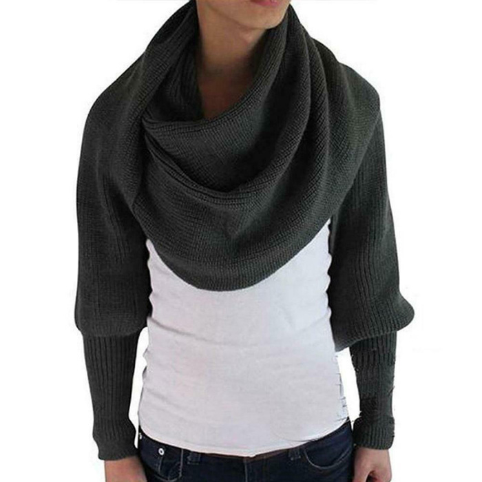 Grey - Knitted Wrap Scarf With Sleeves | GoInsShop