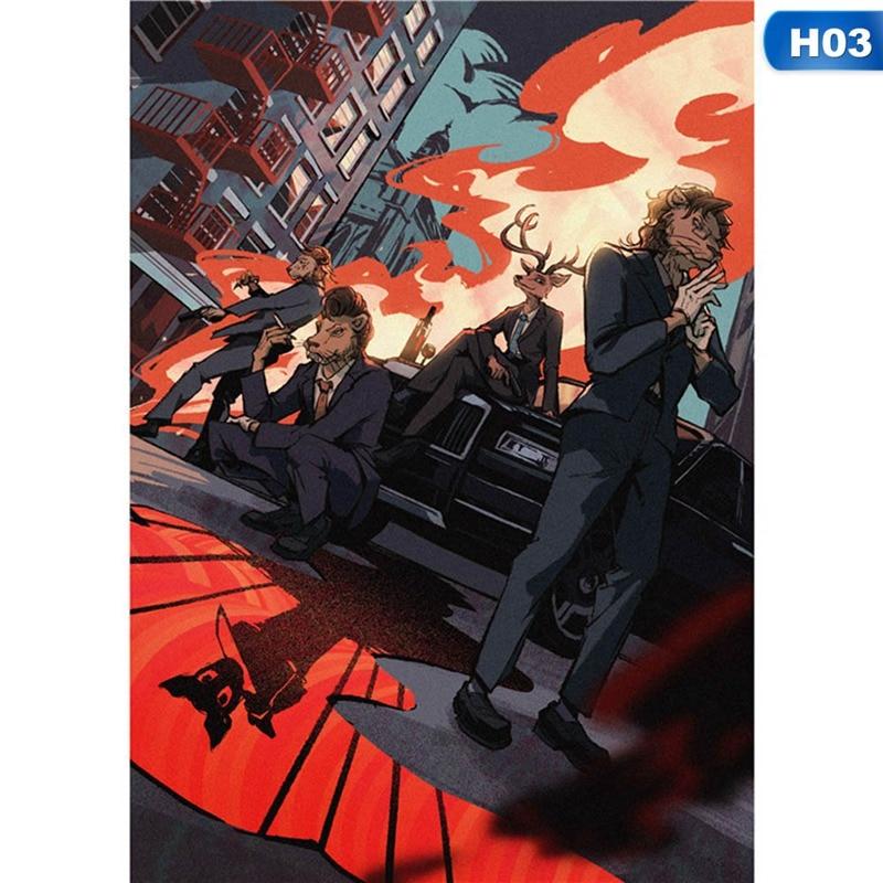 2019 NEW Anime BEASTARS  Legosi Louis Haru Gouhin Wall Hanging Poster Otaku Home Decoration Collection Art Gift