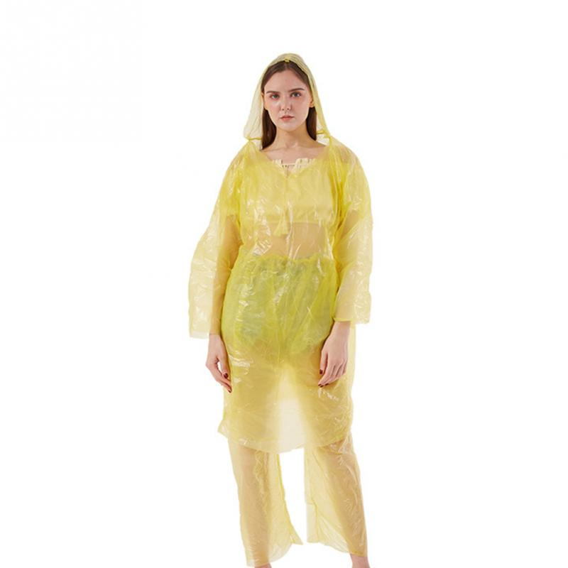2 Yellow Hooded Emergency Rain Ponchos Outdoors Hiking One Size Adult