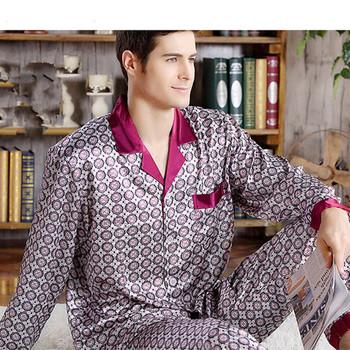 Jedwabne piżamy męskie przytulne i miękkie bluzki z długimi rękawami + spodnie dwa kawałki zestaw bielizny nocnej Plus rozmiar piżamy ubrania domowe bts piżamy tanie i dobre opinie Geometryczne Pełna Przycisk sleep wearman silk V-neck REGULAR Mężczyźni Poliester Rayon Elastyczny pas silk satin fabric soft and comfortable let you have a good dream