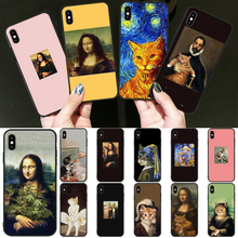 Reayou Funny Leonardo da Vinci MonaLisa Pat Cat DIY Luxury Phone Case for iPhone 11 pro XS MAX 8 7 6 6S Plus X 5 5S SE XR cover(China)