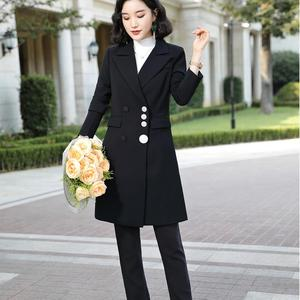 Image 3 - 2019 High quality Elegant women pant suit long blazer and pant 2 pieces sets suit green red black for office lady