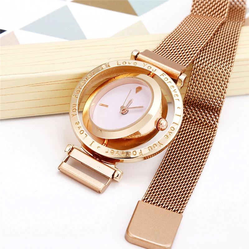 Creative Rotary Dial Women Watch Magnet Band Ladies Watches Steel Quartz Wristwatch Female Clock Gift Bracelet Relogio Feminino
