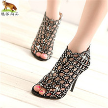 summer dress sandals peep toe Hollow out crystal Summer Party Shoe woman high heels eveing dress dance shoes wedding shoes women summer fashion blue jeans cut out sandals peep toe height increasing wedge summer denim dress shoes woman for women size 34
