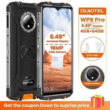 Перейти на Алиэкспресс и купить OUKITEL WP8 Pro NFC IP68 прочный спортивный мобильный телефон 6,49 ''отпечаток пальца Android 10 4 Гб 64 Гб 5000 мАч 16MP Тройная камера Восьмиядерный