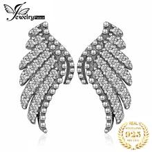 JewelryPalace Angel Wing CZ Stud Earrings 925 Sterling Silver For Women Girls Korean Fashion Jewelry 2020