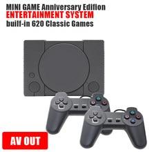 Venda quente lidar com tv vídeo game console para ps1 jogo de vídeo construído em 620 clássico jogos de ação dupla gamepads clássico game console