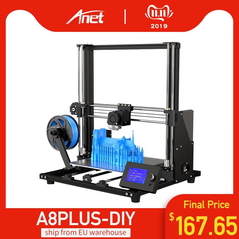 2019 nova anet a8 mais atualização kit de impressora 3d mais tamanho 300*300*350mm alta precisão metal desktop impressora 3d diy impressora 3d