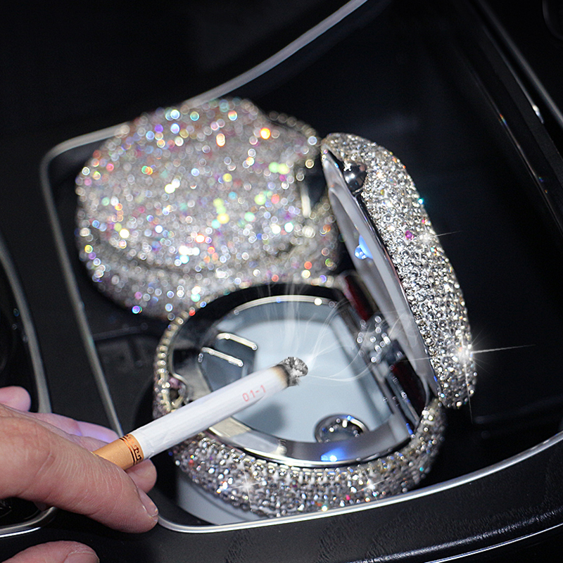 Luxury Crystal Rhinestones Car Ashtray Smoke Cup Holder with Diamond Portable Auto Ashtrays LED Light Storage For Women Girls