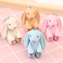 2019 Cartoon Cute Resin Candy Color Rabbit Key chain For Girls Schoolbag Pendant Jewelry Ring Women Car pendant