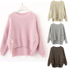 купить Women Pullover Sweater Ladies Long Sleeve Casual Button Solid Bandag Versatile Women Loose Knit Sweater pull femme онлайн