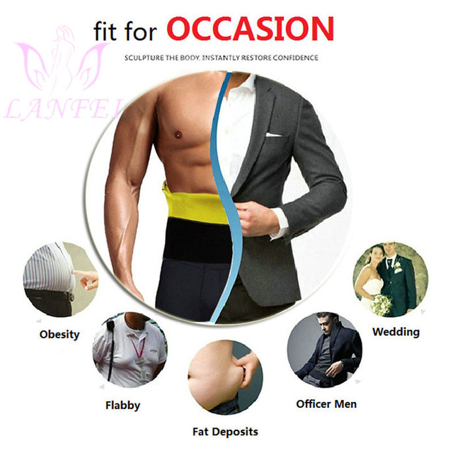 LANFEI Mens Neoprene Waist Trainer Belt Body Shaper Thermo Gym Fitness Modeling Corset Ultra Sweat Slimming Shapewear Fat Burner 4