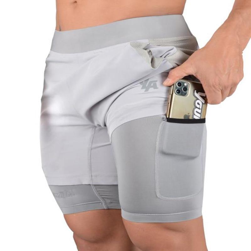 Новые шорты для бега, летние мужские спортивные шорты для фитнеса, бодибилдинга, быстросохнущие мужские шорты для бега, спортивные шорты 2 в ...