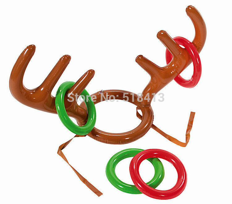 Inflatable Toy Inflatables The New Inflatable Santa Throwing Ring Antler Rings Props Supplies Christmas Activities Children Play