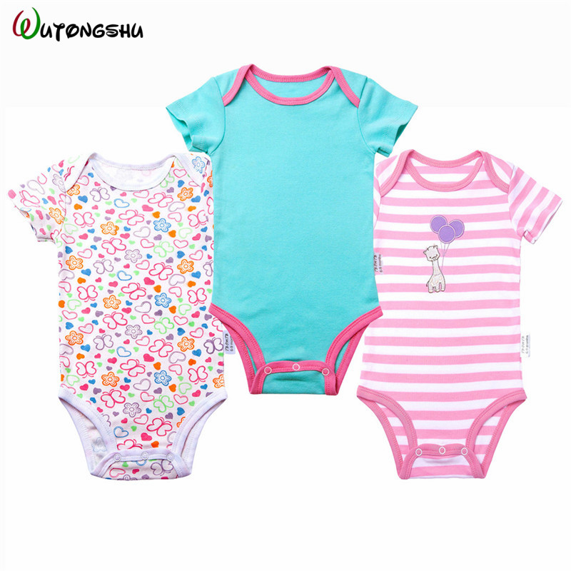 3pcs/lot Newborn Baby Girl Bodysuits Baby Boy Clothes 0-12M Baby Jumpsuit Cotton Baby Clothing Sets