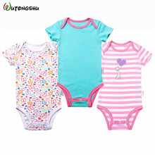 3pcs/lot Newborn Baby Girl Bodysuits Boy Clothes 0-12M Jumpsuit Cotton Clothing Sets