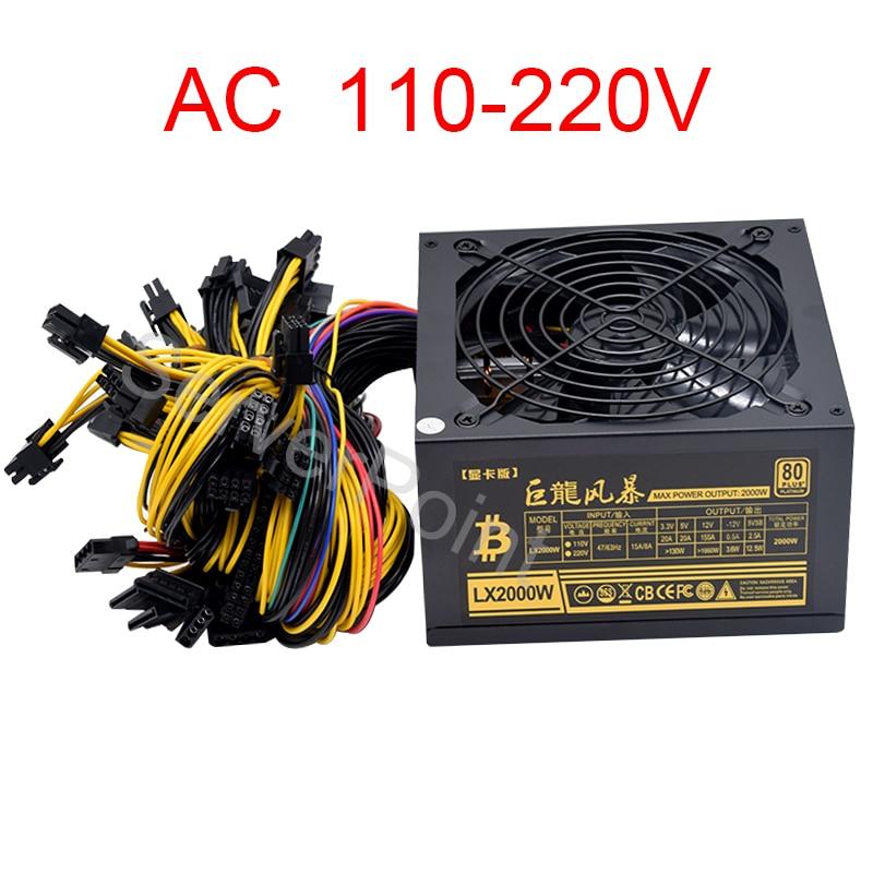 AC 110-220v ATX Pc 2000W Power Supply 8 Graphics Card Ethereum ETH BTC Mining Antminer Psu For US CA BR Voltage