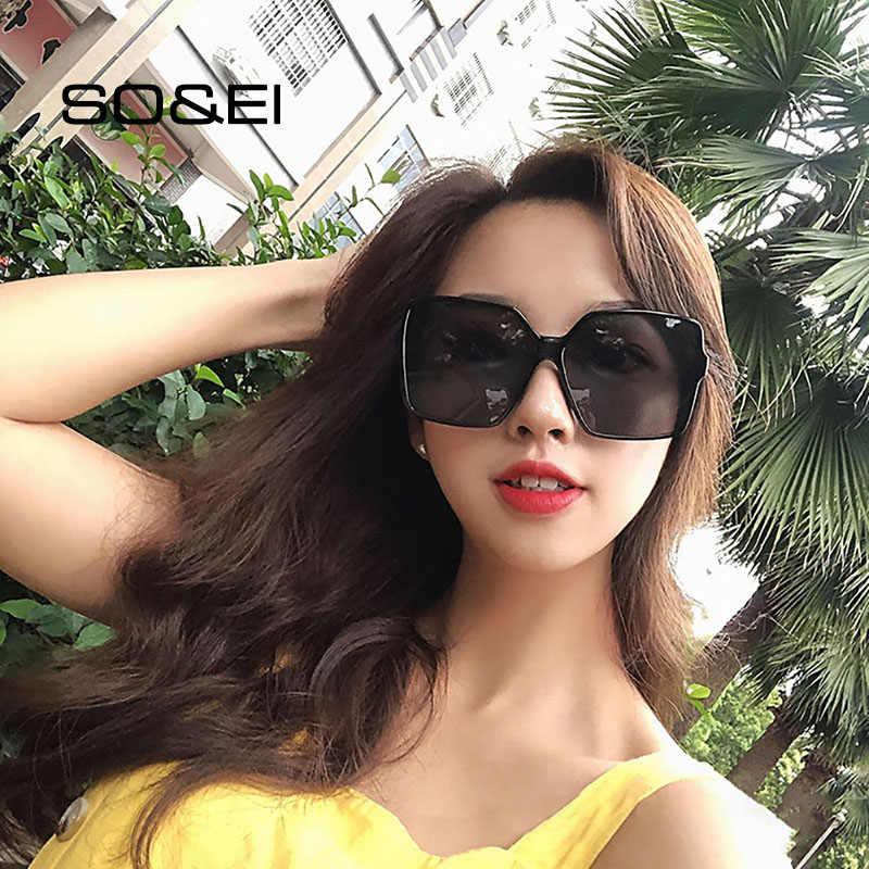 Jadi & Ei Vintage Oversized Square Wanita Kacamata Merek Desain Fashion Gradient Lens Kacamata Pria Sun Kacamata Warna UV400 Oculos