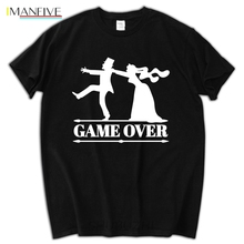 Basic Style O-Neck Organic Cotton game over bride groom bachelor bachelorette party T Shirt Men Fashion For
