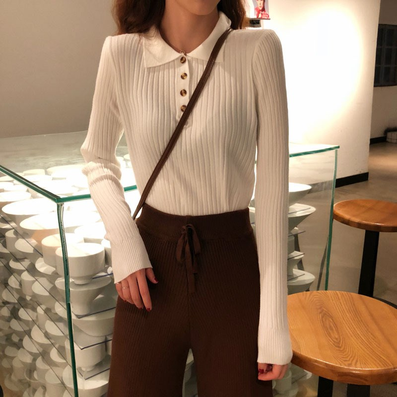 Autumn Winter Women Thin Pullovers Knitted Elasticity Casual Jumper Solid Button Warm Slim Sweater