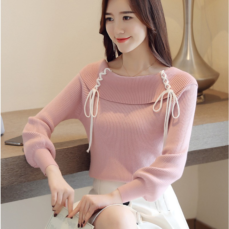 Fashion Trend Sweet Sweater Women Casual Knit Pullover Korean Style Solid Color Off The Shoulder Sweater