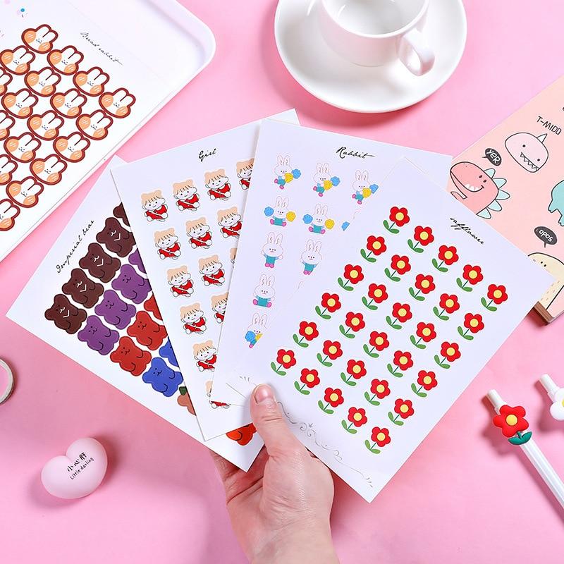 7kinds Creative Color Scrapbook Stickers DIY Scrapbooking Album Gift Packaging Mobile Phone Happy Planner Decorative Stickers