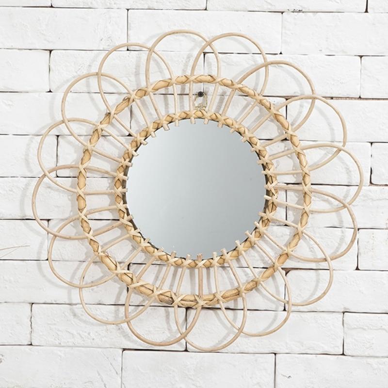 Rattan arte inovadora homestay decoração espelho de