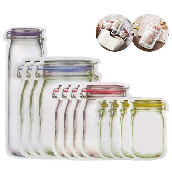 12pcs Seal Reusable Mason Jar Bottles Organizer Bags Food Container Zipper Bags Food Storage Organizer Ziplock Bags Organizer