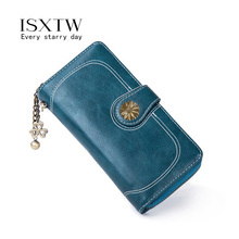 ISXTW Retro Sewing Thread Ladies Clutch Bag Leather Wallet Female Long Zipper With Purse Black / E5