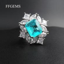 Ffgemmes Vintage 925 en argent Sterling Paraiba Tourmaline pierres précieuses de fiançailles de mariage diamants grands anneaux cadeau bijoux fins en gros