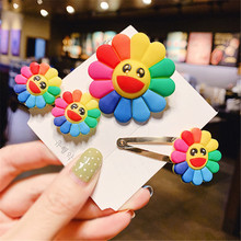 New Fashion Three-piece  Korean Style Colorful Sunflower Hair Clip Barrette Cute Ring Rope For Girls Hot Sale Free Sh