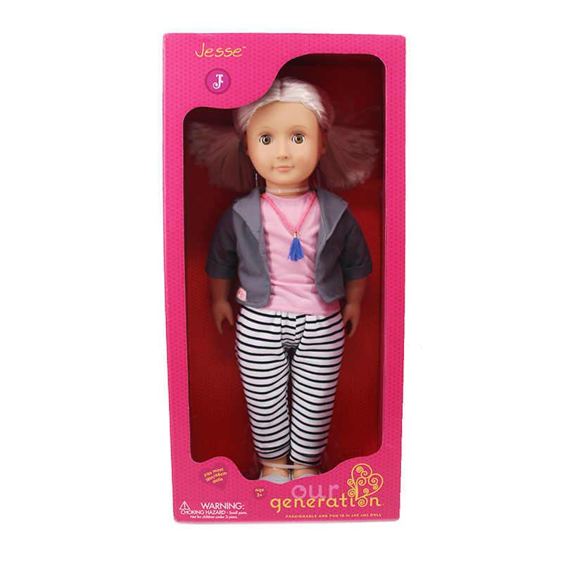 18 インチ私たちの世代アメリカ人形 + 人形の服 + 人形の靴 + 人形アクセサリー、女のおもちゃ、ホリデーギフト (箱なし)