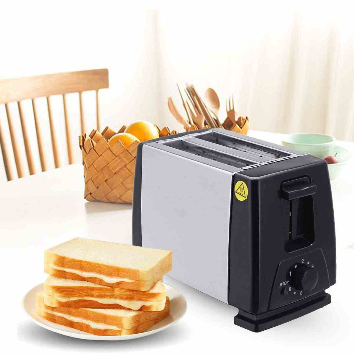 110V/220V Electric Toaster Household 6 Gears Automatic Bread Baking Maker Breakfast Machine Toast Sandwich Grill Oven 2-Slice