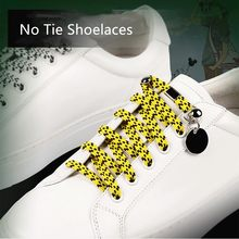 1Pair Quick No Tie Shoelaces Flat Shoe Lace Printing Checkered Ribbons Polyester Magnetic Locking Adult Kids Unisex Lacing(China)