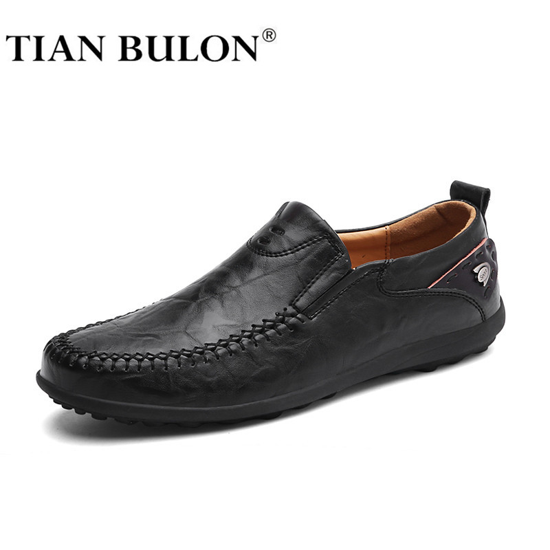 Handmade Genuine Leather Men Casual Shoes Luxury Brand 2019 Mens Loafers Moccasins Comfy Breathable Slip On Black Driving Shoes