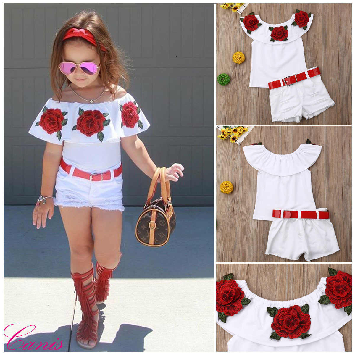 Foreign Trade Hot Sales Childrenswear 2019 Girls Summer Children Embroidery Horizontal Neck Tops Shorts Two-Piece Set