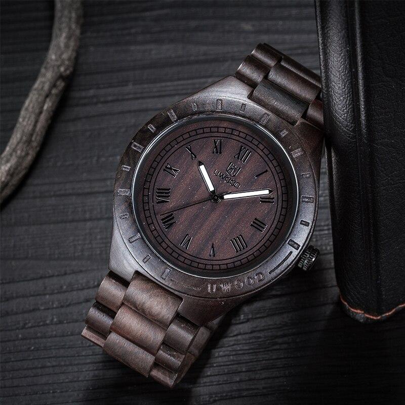 Uwood Men Wooden Watch Vintage Black Quartz Watch Eco-friendly Natural Wooden Watch For Men