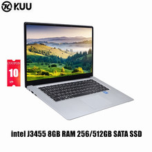 KUU A8 intel J3455 Quad Core Ultrabook 15.6 inch Student Laptop 8GB RAM 256GB SSD Notebook With Webcam Bluetooth WiFi(China)