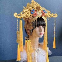 yellow vintage chinese style bride hair accessories decoration exaggerated model headwear movie studio photography queen wear