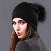 2019autumn and Winter Hats Women Solid Color Double Knit Warm Hat Cute Fashion Fur Pom-pom Winter Cap Ladies Girls Hat Ms Caps недорого