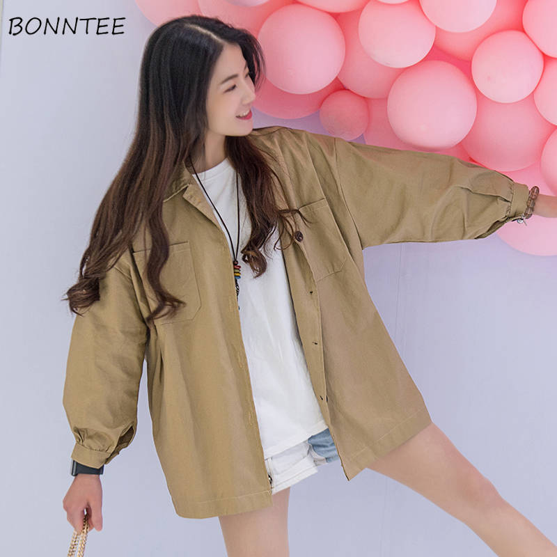 Basic Jackets Women Ulzzang Spring Harajuku Loose Retro Oversize Daily Girls Outerwear Solid Simple Femme Chic All-match Tops