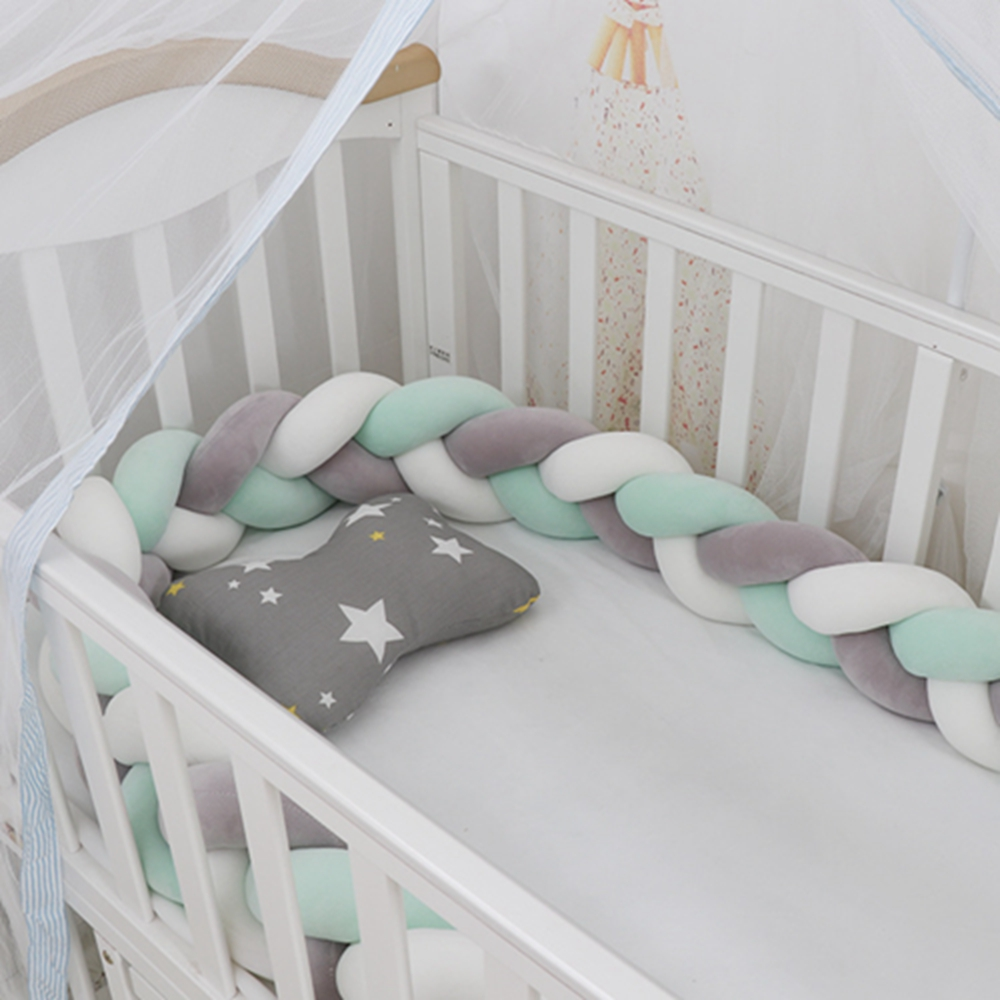1M/2M/3M Baby Bumper Bed Braid Knot Pillow Cushion Bumper Baby Bed Bumper In The Crib Infant Room Decor Baby Ruffle