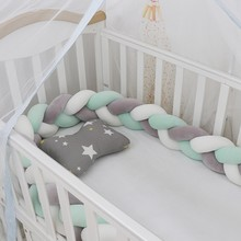 1M/2M/3M Baby Bumper Bed Braid Knot Pillow Cushion Bumper Baby Bed Bumper in the Crib Infant Room Decor Baby Ruffle(China)
