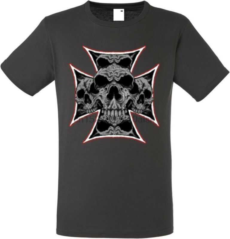 T Shirt IM Graphiteton MIT Einem Gothik-Biker-& Tattoomotiv Modell Maltese Tengkorak