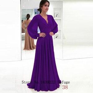 Image 5 - Sofuge 우아한 회교도 이브닝 드레스 a 라인 긴 소매 시폰 레이스 새시 두바이 사우디 아라비아 긴 저녁 파티 파티 드레스
