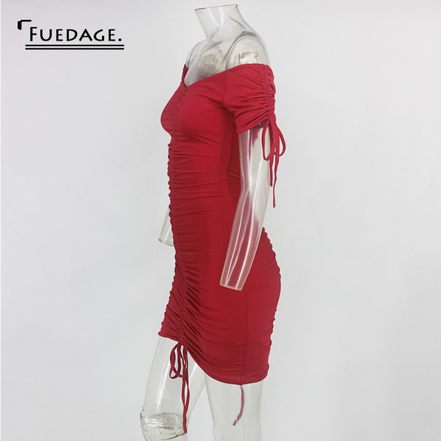 Fuedage Red Solid Ruched Drawstring Mini Dress Women Off Shoulder Sexy Backless Club Party Dress Bodycon Suchmmer Dress Vestidos 5